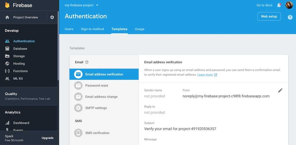 firebase authentication templates