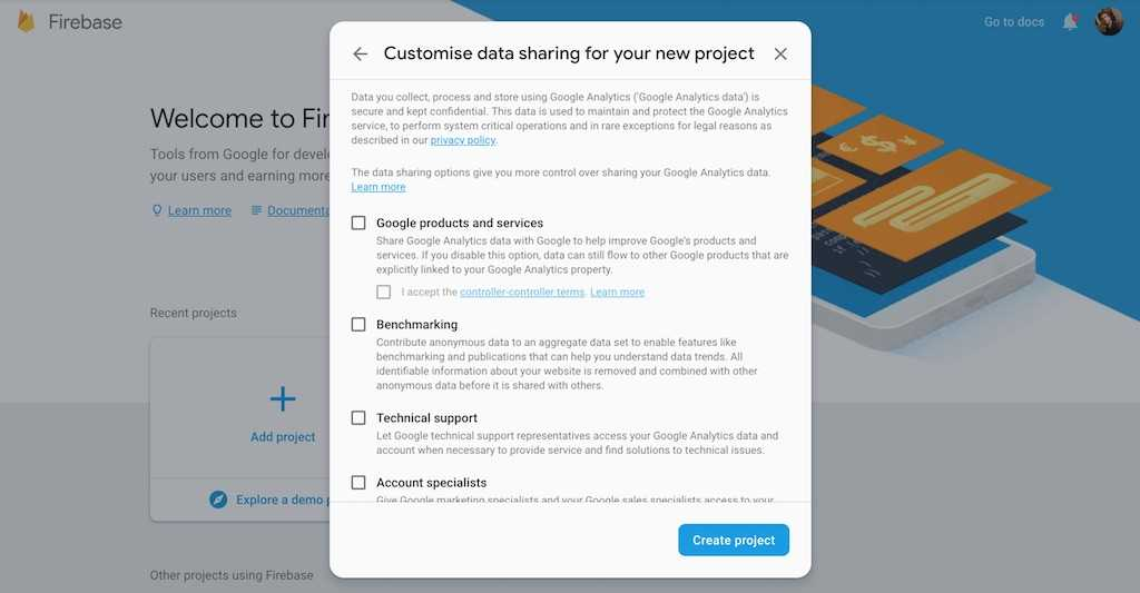 firebase create project analytics